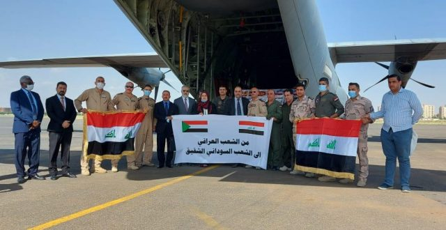 وصول طائرة النقل العسكرية العراقية الى السودان وعلى متنها 12 طناً من المساعدات الطبية