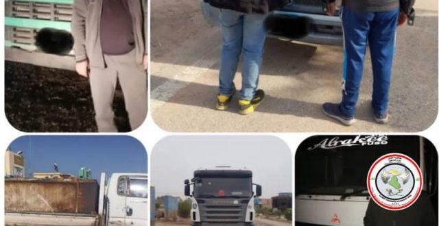 الاستخبارات تضبط خمس عجلات والقاء القبض على سائقيها محملة بمنتوج نفطي مخالفة للضوابط في اربعة محافظات