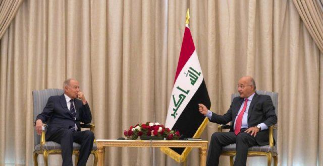 صالح خلال استقباله ابو الغيظ: جهود العراق منصبة على دعم الحوار وتخفيف التوترات في المنطقة