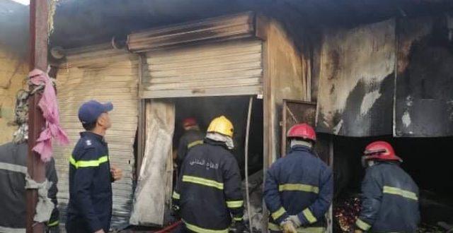 الدفاع المدني يخمد حريقا بسوق شعبي في بغداد