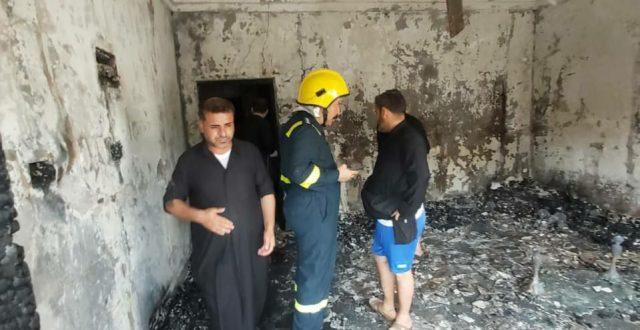 وفاة شخص و انقاذ ٩ بحادث حريق داخل منزل في منطقة الجبيلة بالبصرة