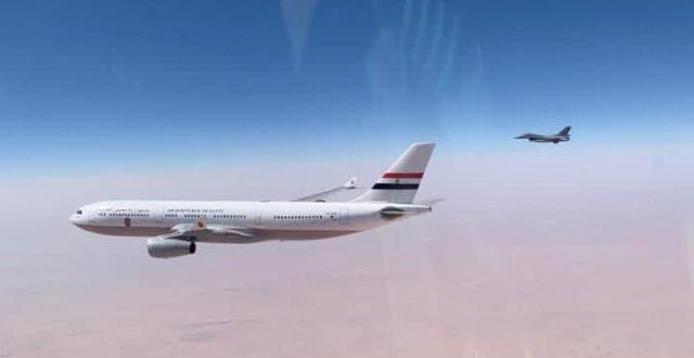 شاهد بالصورة.. مراسم استقبال السيسي من قبل صقور الجو العراقي