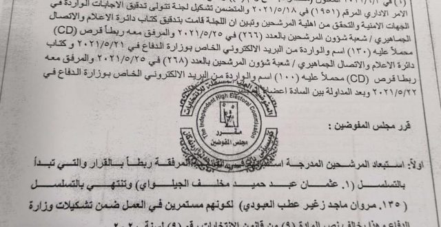 بالوثيقة مفوضية الانتخابات تستبعد 135 مرشحا من سباق الانتخابات القادمة بسبب استمرار عملهم في وزارة الدفاع خلافا لنصوص قانون الانتخابات.
