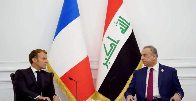 رئيس مجلس الوزراء مصطفى الكاظمي يلتقي الرئيس الفرنسي ايمانويل ماكرون في القصر الحكومي بالعاصمة بغداد.