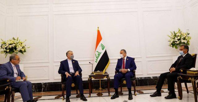 الكاظمي يلتقي وزير الخارجية الايراني ويؤكد اهمية التعاون المشترك بين البلدين