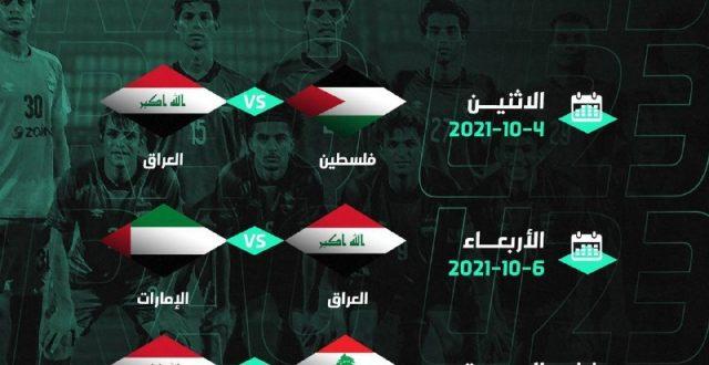 جدول مباريات منتخبنا الاولمبي لبطولة اتحاد غرب آسيا
