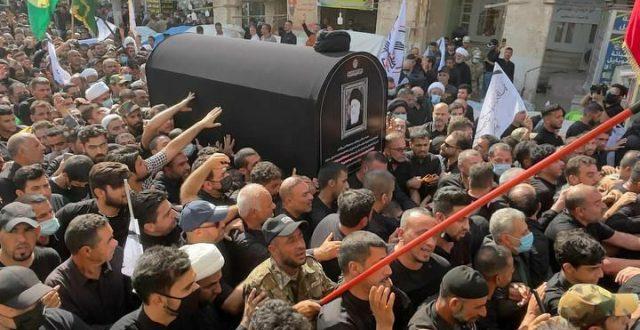 مراسم تشييع جثمان الفقيد  المرجع السيد محمد سعيد الحكيم في النجف الأشرف.