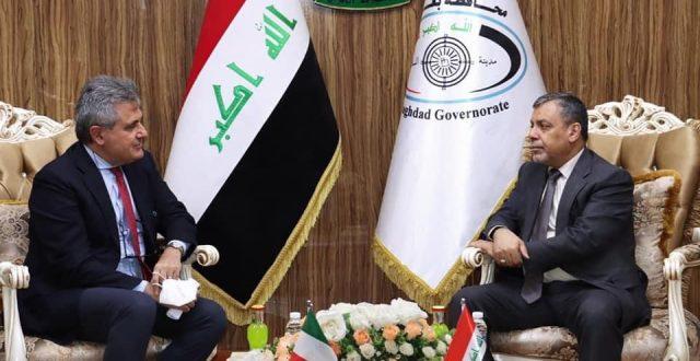 محافظ بغداد يبحث مع السفير الايطالي سبل تعزيز التعاون في المجال الخدمي والتجاري